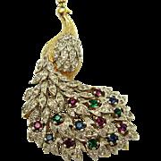 Vintage PANETTA Peacock Rhinestone Encrusted Figural Brooch Book Piece