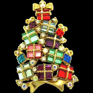 Vintage AVON 2007 Fourth Annual Mirror Glass Presents & Rhinestone Christmas Tree Brooch