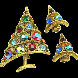 Vintage WEISS Aurora Borealis Rhinestone Christmas Tree Set Brooch Earrings