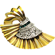 RARE PENNINO Sterling Fan Brooch 18k Gold Plated Emerald Crystal Rhinestones