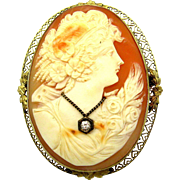 VICTORIAN 14k Yellow Gold Carved Natural Shell Cameo w/Diamond Large Brooch Pin
