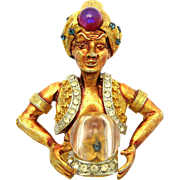 RARE Signed HAR Genie Fortune Teller with Crystal Ball Figural Brooch Pin