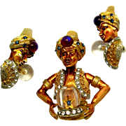 RARE Signed HAR 1950's Genie Fortune Teller Crystal Ball Set Brooch Earrings