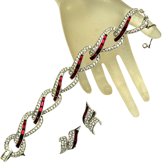 BOUCHER Set Link Bracelet Earrings Red Baguettes Rhinestones