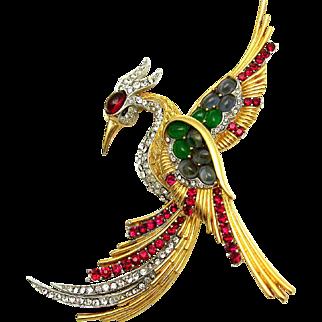 BOUCHER Ruby Red, Emerald, Light Sapphire, Diamante Massive Phoenix Bird Brooch