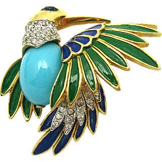 JOMAZ Dimensional Enamel Rhinestones 18k Gold Plated Bird Brooch HTF