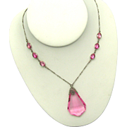 Gorgeous 1900 ART NOUVEAU Sterling Silver Pink Crystal Pendant Necklace