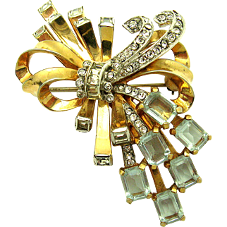 MAZER Bouquet and Bow Brooch Crystal Rhinestones 18k Gold Plate