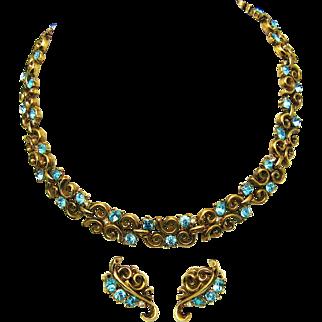 Vintage TRIFARI Set Link Necklace and Clip Earrings Rhinestones Trifaniam* Metal