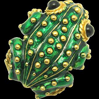 Vintage CINER Large 'Nubby' Frog Brooch Translucent Enamel 18k Gold Plated