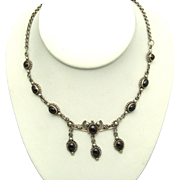 Exquisite ART DECO 1930's Garnet and Sterling Necklace with Garnet Droppers