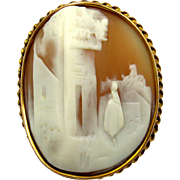 10k Yellow Gold Carved High Relief Natural Shell Cameo Brooch of Rebecca at the Well