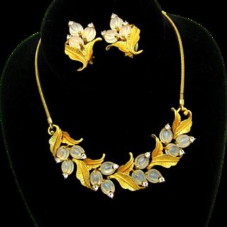 Vintage PENNINO Set Necklace Earrings Molded Glass Fruit Salad and Rhinestones