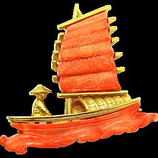 Signed HATTIE CARNEGIE Faux Coral Oriental Man in Junk Boat Brooch Book Piece