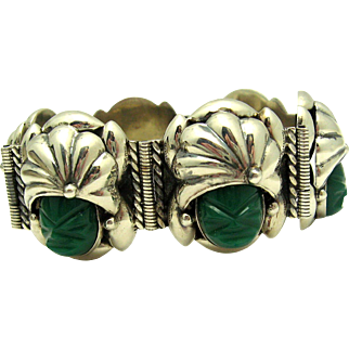 Art Deco PARRA Taxco MEXICO Sterling Green Onyx Mayan Turban Face Link Bracelet
