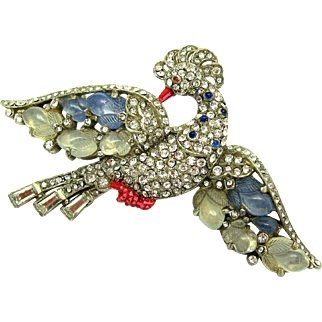 TRIFARI A Philippe Pave, Chalcedony Blue and White 'Fruit Salad Peacock' Brooch