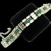 HATTIE CARNEGIE Bracelet Green and Large Baguette Crystal Rhinestones