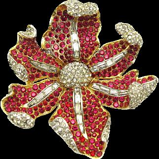 BOUCHER Ruby and Crystal Rhinestone Floral 'Curling Petal' Brooch