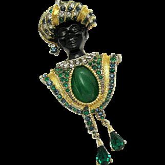 BOUCHER Blackamoor with Turban Faux Jade Inset Emerald Green Pendants Brooch