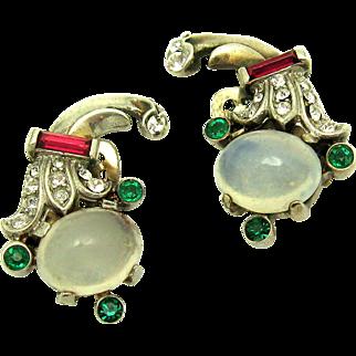 1948 TRIFARI A. Philippe Sterling Moonstone Earrings for Talisman Brooch