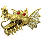 Ferocious HATTIE CARNEGIE Dragon Brooch 18k Gold Plated Red Eyes VERY RARE!