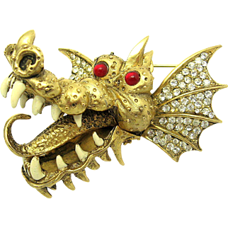 Ferocious HATTIE CARNEGIE Dragon Brooch 18k Gold Plated Red Eyes VERY RARE!