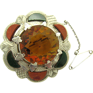 Antique Victorian 1890 Scottish Agate and 18.2ctw Cairngorm Citrine Brooch