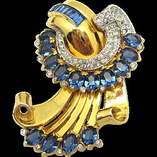 1940s CORO Fur Clip Brooch Golden Scrolls Faux Sapphires Crystal Rhinestones