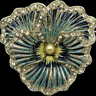 BOUCHER Metallic Enamel Glittering Rhinestones Pearl Pansy Brooch