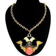 JOMAZ Runway Double Eagle Pendant Necklace Enamel Faux Coral Cabochon