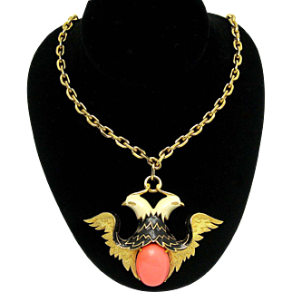 JOMAZ Runway Double Eagle Pendant Necklace Enamel Faux Coral Cabochon