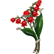 TRIFARI A. Philippe 1940 Lily Of The Valley Fur Clip Pin