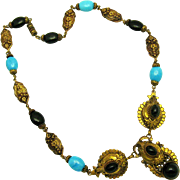 ART DECO Max Neiger Faux Turquoise and Onyx Gold Gilded Necklace