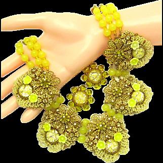 IAN ST. GIELAR Runway Floral Yellow Glass Cluster Russian Gold Tone Set