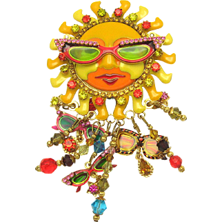 Lunch at the Ritz 2Go LATR Sun with Glasses Dangle Enhancer Pin Brooch