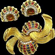 JOMAZ Dimensional Set Bow Brooch Earrings 18k Gold Plated Rhinestone