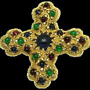 JOMAZ Mohgul 'Jewels Of India' Ruby, Sapphire, Emerald Cross Brooch Pendant