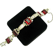 TRIFARI Art Deco Era Ruby Red Emerald Cut Stones Rhinestones Link Bracelet