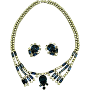 HATTIE CARNEGIE Set Necklace Earrings Beautiful Blue and Clear Crystal Stones