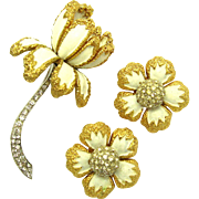 JOMAZ Floral Dimensional Set Brooch Earrings Enamel and Rhinestones Lovely!