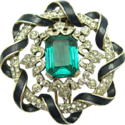 Vintage 1940's Crown Trifari Blue Enamel and Crystal Rhinestones Fur Clip/Brooch
