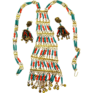 Dazzling Tibetan/Nepal Coral and Turquoise Bib Necklace and Earrings Set