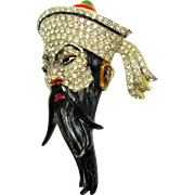 *RARE* CORO Fujiman Chinese Fu Manchu Brooch Pave Face Enameled Hat Book Piece