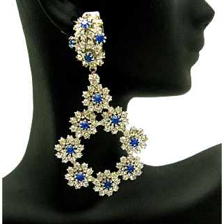 Gorgeous ALICE CAVINESS Crystal Rhinestone Flower Dangle Clip Earrings