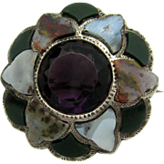 Superb Antique Victorian c1890 Sterling Silver Scottish Agate Brooch