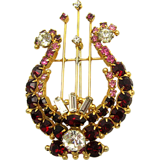 ORIGINAL BY ROBERT Red Pink and Clear Crystal Rhinestones Musical Lyre Brooch