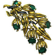 TRIFARI A. Philippe Faux Emeralds Enamel Six Bell Flowers Floral Spray Pin Clip