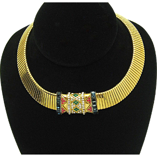 CINER Gripoix Glass Jewels of India Choker Necklace