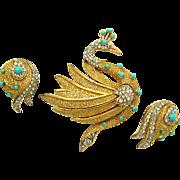 CROWN TRIFARI Set Figural Swan Brooch Earrings Turquoise Cabs and Rhinestones