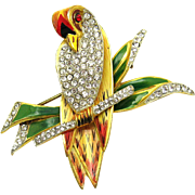 CORO CRAFT STERLING Stylized Love Bird on a Branch Brooch Enamel Rhinestones